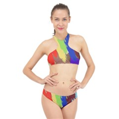 Abstract Painting High Neck Bikini Set