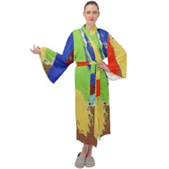 Abstract Painting Maxi Tie Front Velour Kimono