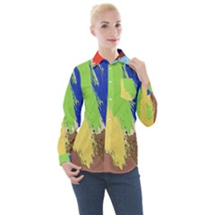 Abstract Painting Women s Long Sleeve Pocket Shirt