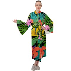 Tropical Adventure Maxi Tie Front Velour Kimono by retrotoomoderndesigns