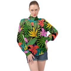 Tropical Adventure High Neck Long Sleeve Chiffon Top