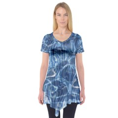 Abstract Blue Diving Fresh Short Sleeve Tunic  by HermanTelo