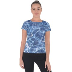 Abstract Blue Diving Fresh Short Sleeve Sports Top  by HermanTelo