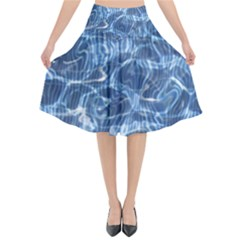 Abstract Blue Diving Fresh Flared Midi Skirt by HermanTelo