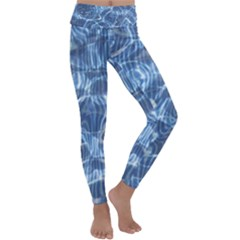 Abstract Blue Diving Fresh Kids  Lightweight Velour Classic Yoga Leggings