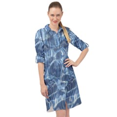 Abstract Blue Diving Fresh Long Sleeve Mini Shirt Dress by HermanTelo