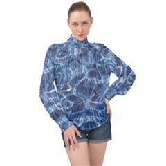 Abstract Blue Diving Fresh High Neck Long Sleeve Chiffon Top by HermanTelo