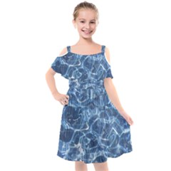 Abstract Blue Diving Fresh Kids  Cut Out Shoulders Chiffon Dress