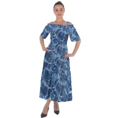 Abstract Blue Diving Fresh Shoulder Straps Boho Maxi Dress  by HermanTelo