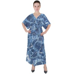 Abstract Blue Diving Fresh V Neck Boho Style Maxi Dress