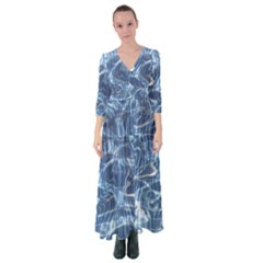 Abstract Blue Diving Fresh Button Up Maxi Dress