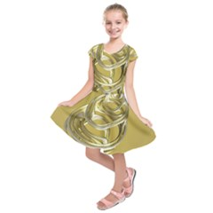 Fractal Abstract Artwork Kids  Short Sleeve Dress