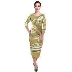 Fractal Abstract Artwork Quarter Sleeve Midi Velour Bodycon Dress