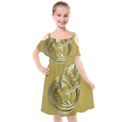Fractal Abstract Artwork Kids  Cut Out Shoulders Chiffon Dress by HermanTelo