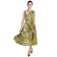 Fractal Abstract Artwork Round Neck Boho Dress