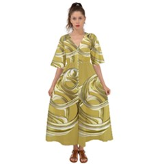 Fractal Abstract Artwork Kimono Sleeve Boho Dress