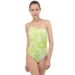 Background Green Star Classic One Shoulder Swimsuit by HermanTelo