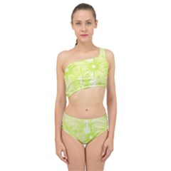 Background Green Star Spliced Up Two Piece Swimsuit