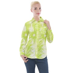 Background Green Star Women s Long Sleeve Pocket Shirt