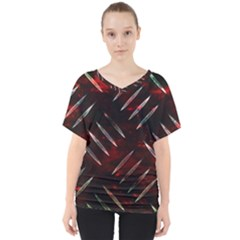 Background Red Metal V-neck Dolman Drape Top