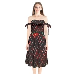 Background Red Metal Shoulder Tie Bardot Midi Dress by HermanTelo