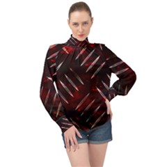 Background Red Metal High Neck Long Sleeve Chiffon Top by HermanTelo