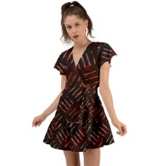 Background Red Metal Flutter Sleeve Wrap Dress