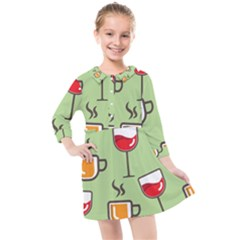 Cups And Mugs Kids  Quarter Sleeve Shirt Dress
