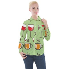 Cups And Mugs Women s Long Sleeve Pocket Shirt