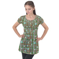 Textile Fabric Puff Sleeve Tunic Top