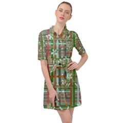 Textile Fabric Belted Shirt Dress