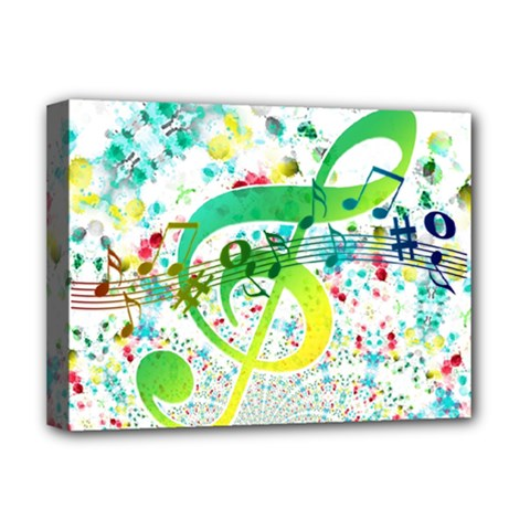 Circle Music Pattern Deluxe Canvas 16  X 12  (stretched)