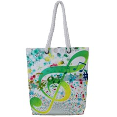 Circle Music Pattern Full Print Rope Handle Tote (small)