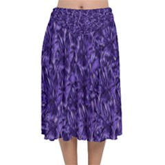 Pattern Color Ornament Velvet Flared Midi Skirt by HermanTelo