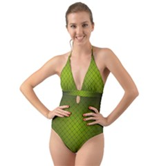 Hexagon Background Line Halter Cut Out One Piece Swimsuit