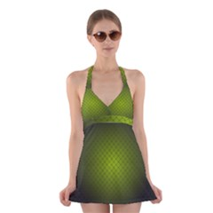 Hexagon Background Line Halter Dress Swimsuit  by HermanTelo