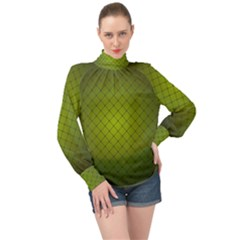 Hexagon Background Line High Neck Long Sleeve Chiffon Top by HermanTelo