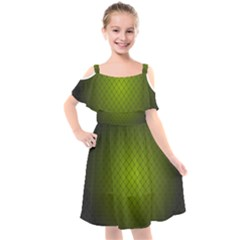 Hexagon Background Line Kids  Cut Out Shoulders Chiffon Dress