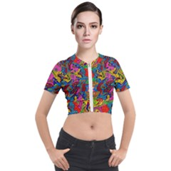 I 3 1 Short Sleeve Cropped Jacket by ArtworkByPatrick