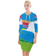 Natural Cloud Field Grass Quarter Sleeve Hood Bodycon Dress