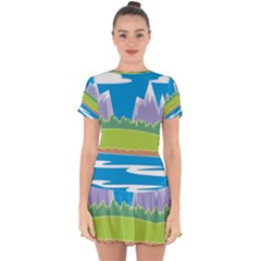 Nature Tree Water Grass Sun Drop Hem Mini Chiffon Dress