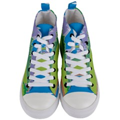 Nature Tree Water Grass Sun Women s Mid Top Canvas Sneakers