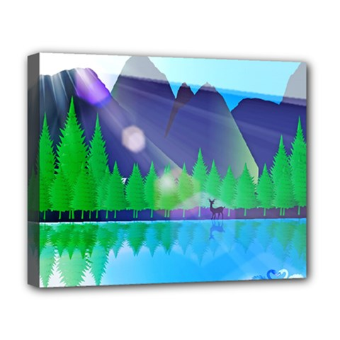 Forest Landscape Pine Trees Forest Deluxe Canvas 20  X 16  (stretched)
