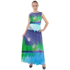 Forest Landscape Pine Trees Forest Chiffon Mesh Boho Maxi Dress