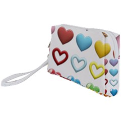 Puffy Hearts Heart Clipart Hearts Wristlet Pouch Bag (small)