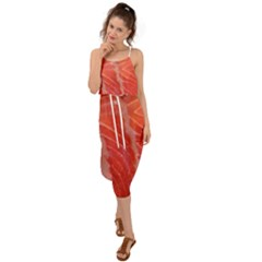Food Fish Red Trout Salty Natural Waist Tie Cover Up Chiffon Dress