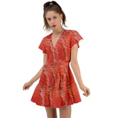 Food Fish Red Trout Salty Natural Flutter Sleeve Wrap Dress