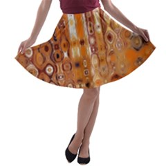 Desert Wildfire Flames Orange A Line Skater Skirt by CrypticFragmentsDesign
