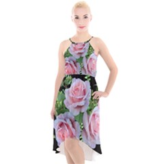 Roses Flowers Ferns Arrangement High Low Halter Chiffon Dress