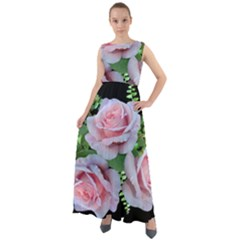 Roses Flowers Ferns Arrangement Chiffon Mesh Boho Maxi Dress